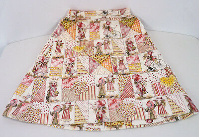 Vintage 70s 80s Holly Hobbie Country Plaid Print Quilted Girls Skirt Size 3/4