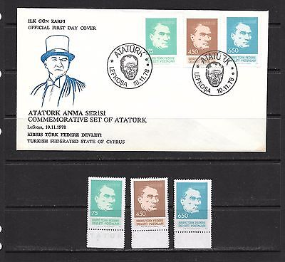 Turkey Kibris Cyprus 1978 Ataturk  FDC and Mint Never Hinged set