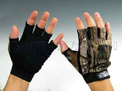 1pair Gloves 5 Cut Finger Fishing Gloves Water Black Camo Camouflage