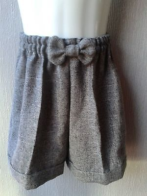 Girls New Hand Made Party/winter Shorts Grey/black Tweed/wool Style  Fabric Age