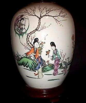 Antique Chinese 19Th Century   Famille Verte Baluster Vase/calligraphy