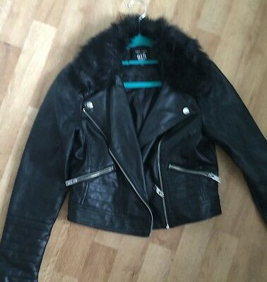 Black Leather-look faux fur collar jacket Age 12-13,New Look, Hardly Any Wear