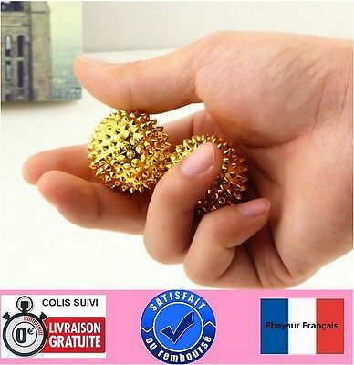 2 boules aiguilles massage paumes mains -  points d'acupuncture - D=32 mm -