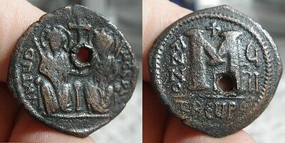 55 Byzantine - JUSTIN  II  565-578 A.D. - DATED - AE FOLLES - THEOUPOLIS MINT