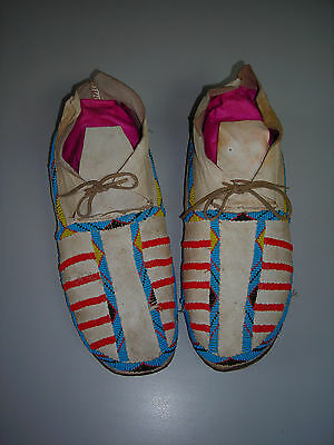 Old Northern CHEYENNE Hide Beaded Moccasins-1920-1930 's