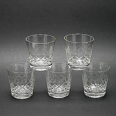 """Five Crystal 'Old Fashioned' Whisky Tumblers/ Glasses - 9cm/3.5"""" High"""