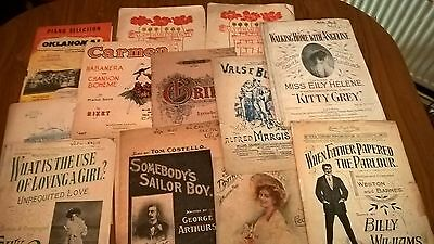 Job Lot Vintage/Antique Interesting Sheet Music - Late 1800s / Early 1900s