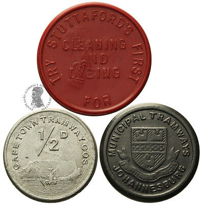 PGNUM - South Africa Lot 3 pcs. Cape Town Tramway and Transoptation Tokens ND