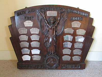 antique presentation shield + silver plate plaques Bath & District First Aiders