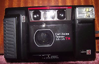 Kyocera Yashica TAF Carl Zeiss Tessar f/3.5 35mm T* vintage film camera & case