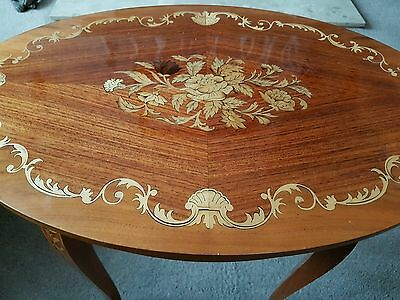 *****beautiful Italian Inlaid Marquetry Oval Occasional Table*****