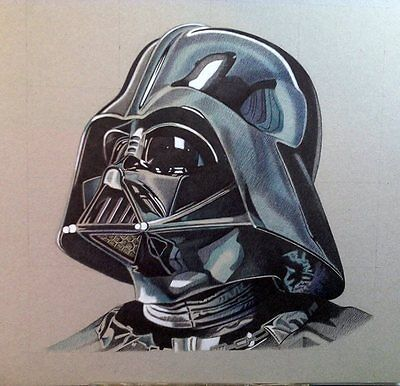 "Dibujo/Drawing/Dessin ORIGINAL a bolígrafos ""DARTH VADER"" STAR WARS. M. Alfaro"