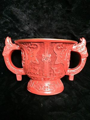 Rare Antique Carved Cinnabar And Lacquer Handled Chinese Bowl
