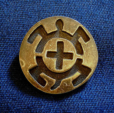 HOPI STERLING Silver Cutout Overlay Vintage Handmade TURTLE STICK PIN