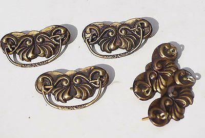 Vintage Lot of 3 Dresser Drawer Handles Pulls with Extra Pieces - As Shown