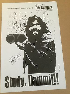 """1970 Stephen King Signed """"Study Dammit"""" Poster"""