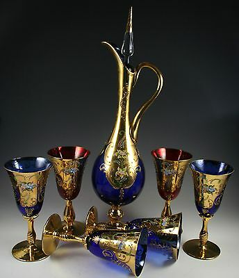 Cobalt blue Murano 24K Gold Enamel Hand Cut Crystal 6 Glesess  With Decanter