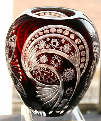 Cranberry Red  Cut to Clear Crystal VASE
