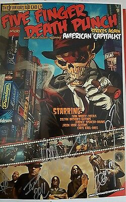 Five Finger Death Punch ,promotional poster 11 x 17  with band signatures