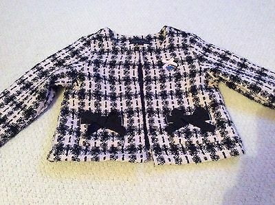 Girls pink and black Le Chic checked jacket with bows - 110cm (approx age 4/5)