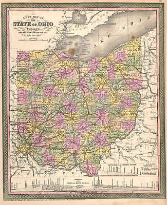 Ohio Vintage Map DeSilver 1855 Original