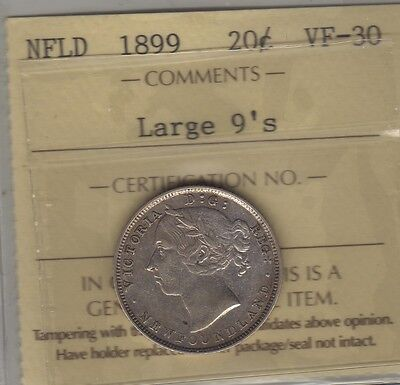 1899 Newfoundland (Large 9) Silver Twenty Cents Coin. ICCS VF-30