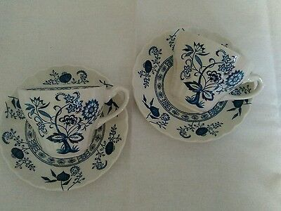 J & G Meakin Blue Nordic cups and saucers x 2