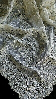 """Antique  French Alencon lace  tablecloth  with  gold    44""""×37"""""""
