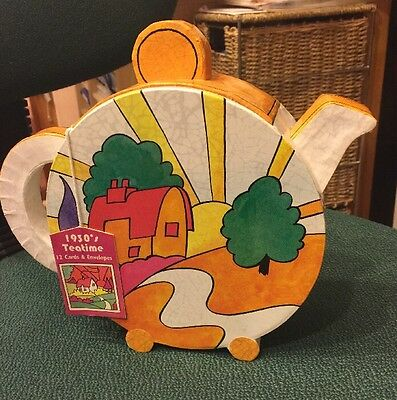 1930 Teatime Clarice Cliff Cards Envelopes Novelty Teapot (10 left of 12 cards)