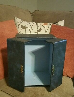 RARE Small VINTAGE ■ LORD ELGIN ■ Blue Wooden Padded Lined Box / case / Chest ��