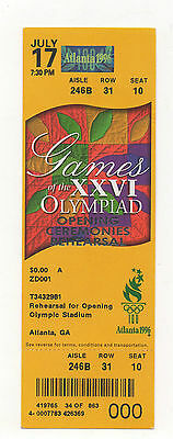 Orig.Ticket   Olympic Games ATLANTA 1996 - REHEARSAL FOR OPENING CEREMONY ! RARE