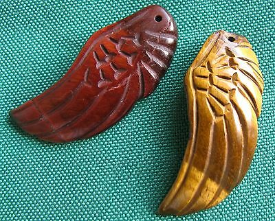 Charming Carved 2Pc Tigereye Amulet Wing Pendant,crystal(1265)