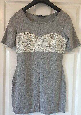 Rare Grey Short Sleeve T-Shirt With Cream Lace Chest Detail Size 12 - BNWT