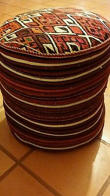 Vintage Foot Stool Indian Aztec Western Fabric Covered Cushion 17 In. X 18 In.
