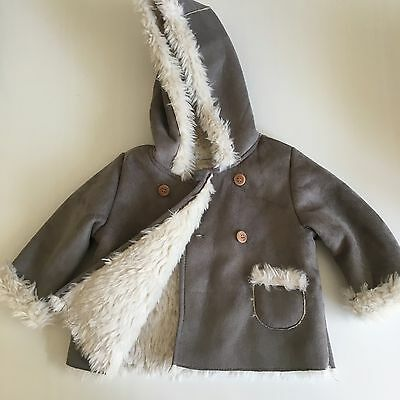 Baby Girls Zara Shearling Coat 6-9 Months