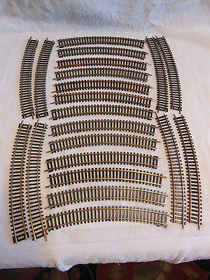 """HO Scale Track-Lot of 21 Curved Sections-18"""" Radius-Brass-Used/Excellent"""