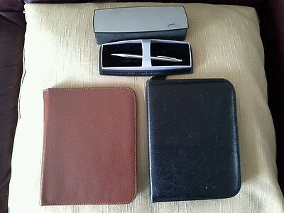 Vintage Leather Writing Cases with Cross Biro