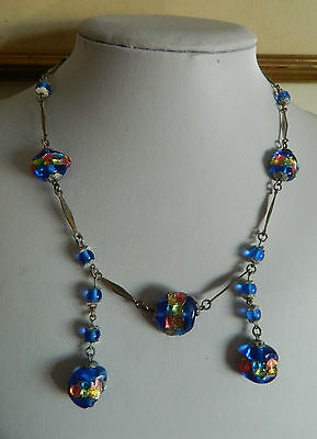Vintage foiled murano glass bead necklace