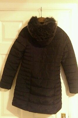 Girls black warm padded Next jacket age 12 years, with hood & fur lined, school