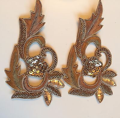 Indian Pair of Stone Pearl Zari Applique/Motif  Indian Ethnic style Gold