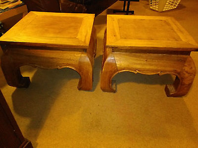 Pair of 2 Interesting Chunky Indonesian  Style Wooden Side Tables