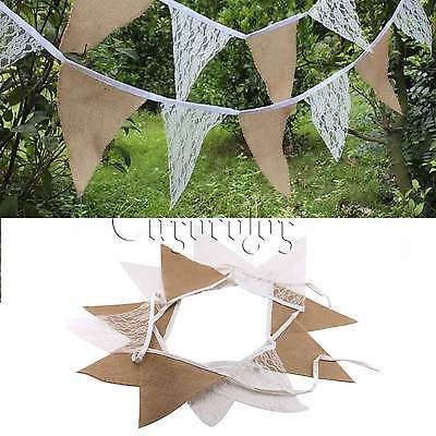 Burlap Hessian Jute & White Lace Vintage Rustic Bunting Banner Wedding party