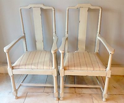 Pair Of Annie Sloan Shabby Chic Carver Chairs