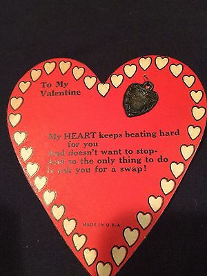 Antique Valentine Card UNIQUE with Metal Trinket SWEETHEART