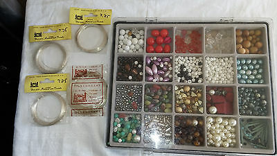 Large box of Beads and Necklace wire for jwellery and crafts
