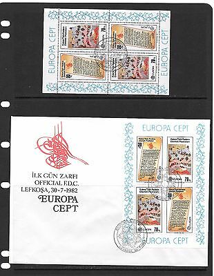 Cyprus  1982 Europa M/S FDC and CTO