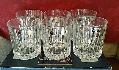 Bohemian Crystal Whisky Tumblers Set Of 6 Bnib -Excellent Design