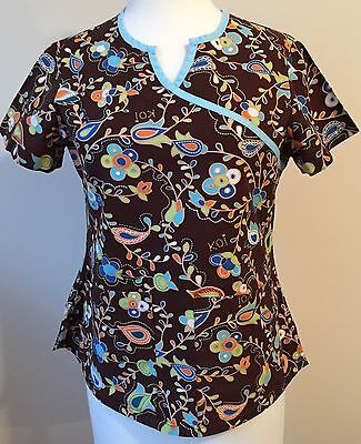 Koi Uniform Scrub Top 100% Cotton Brown Turquoise Floral Fitted Size Small EUC
