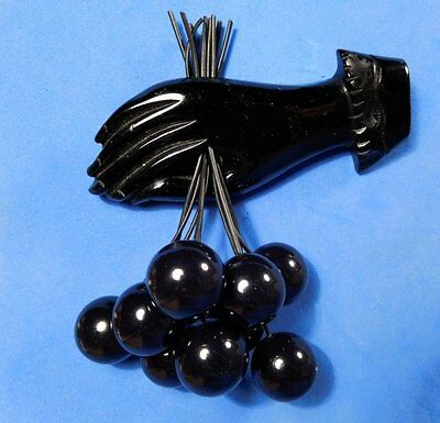 40's CARVED BAKELITE! Black Hand with 9 Dangling Cherries Mourning Cherry Brooch