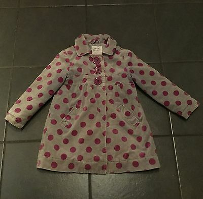 Mini Boden Girl Soft Velour / Cotton Coat Spotty Dotty Age 3 To 4 Years